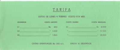 Tarifas Radio Mara