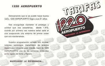 Tarifas Radio Aeropuerto