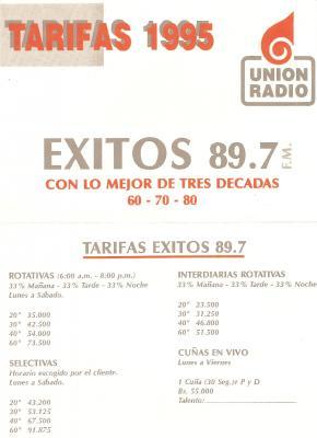 Tarifas Exitos 89.7 FM