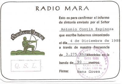 Tarjeta QSL Radio Mara