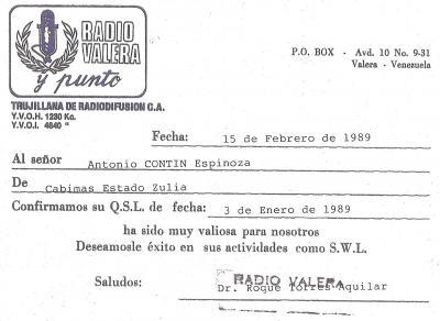 Tarjeta QSL Radio Valera