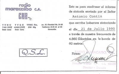 Tarjeta QSL Radio Maracaibo