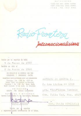 Tarjeta QSL Radio Frontera