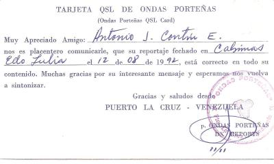 Tarjeta QSL Radio Ondas Porteñas