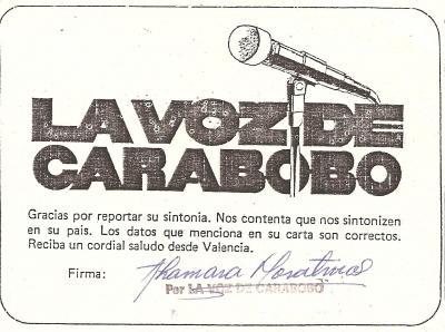 Tarjeta QSL Radio La Voz de Carabobo