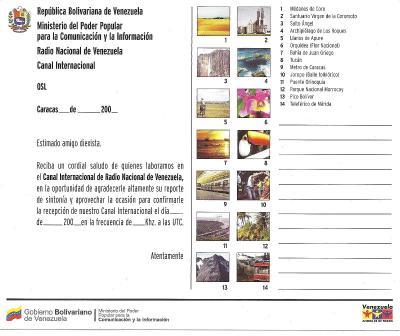 Tarjeta QSL Radio Nacional de Venezuela (Reverso)
