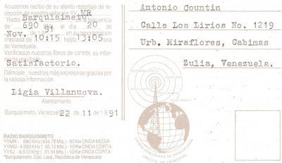 Tarjeta QSL Radio Barquisimeto (Reverso)