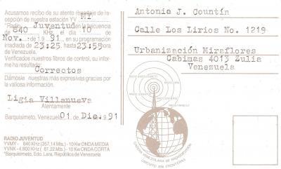Tarjeta QSL Radio Juventud (Reverso)