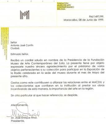 Carta de Agradecimiento del MACZUL