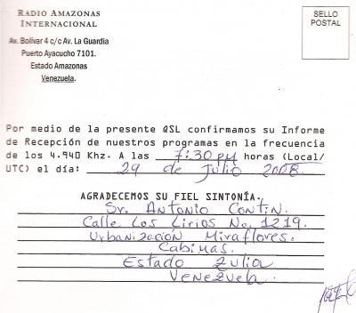 Tarjeta QSL Radio Amazonas Reverso