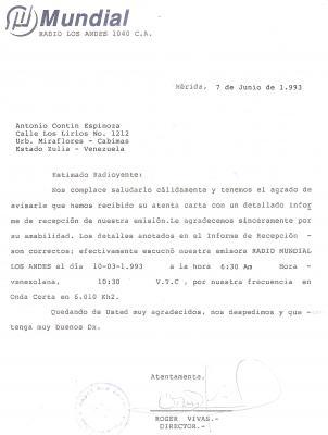 Qsl Carta Radio Los Andes 1040