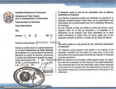 Tarjeta QSL Radio Nacional de Venezuela -Reverso-
